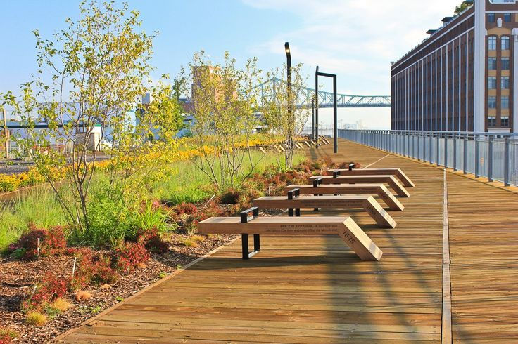 A modern linear park offers great views of the st for Linear architecture design