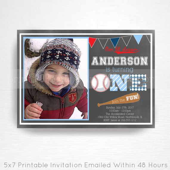 Red White and Blue Baseball Birthday Party Printable Invitation YOU PRINT Photo Invite This is an emailed file, nothing will be shipped to you. Please include your childs name, age and party details in the notes to seller section at checkout. We will email your high-resolution, print-ready file within 48 hours of receiving your party details and photo (if photo invitation has been purchased please email your photo to amy [at] printpopparty.com). Your invite will be formatted to print 5x7…