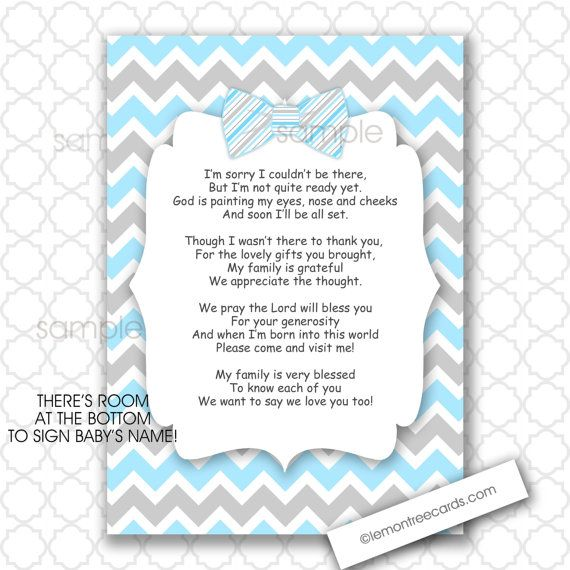 Bow Tie Thank You Poem Notes 5x7 4x6 / INSTANT Download / Boy Baby Shower  Stationery /BLUE GRAY Chevron