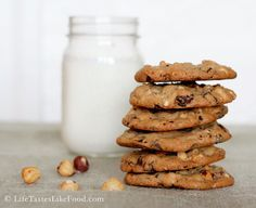 Dark Chocolate Chip and Hazelnut Cookies with Sea Salt - My new favorite cookie recipe!