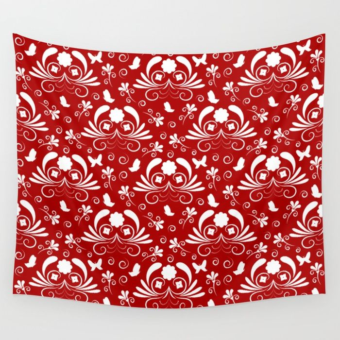 Abstract floral red, white Wall Tapestry