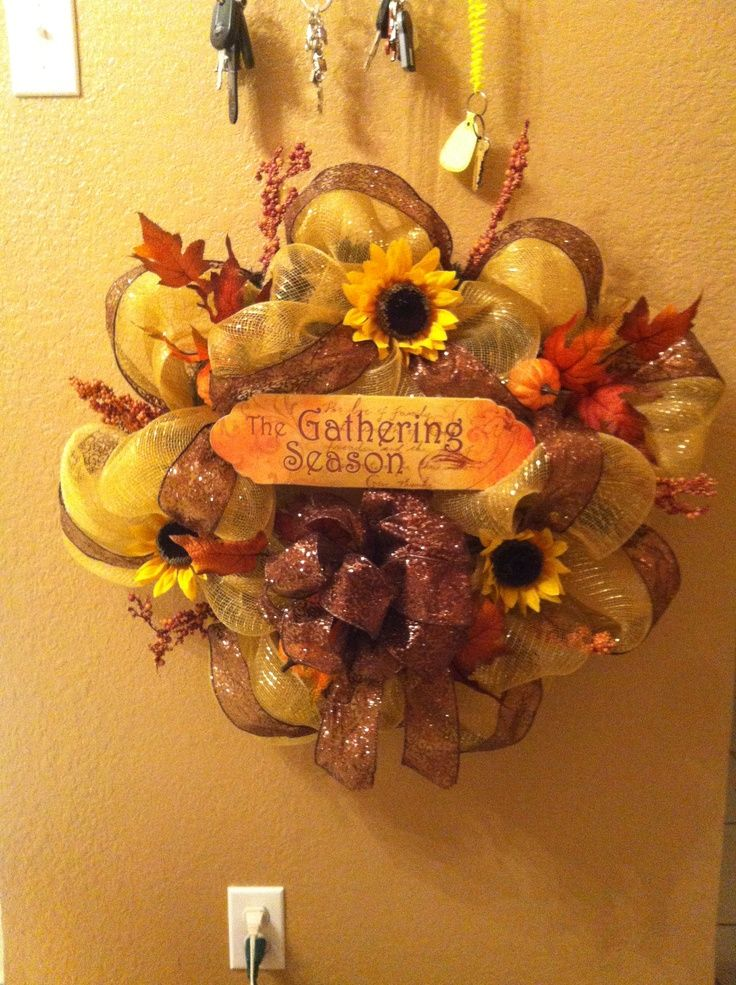 deco mesh wreaths | Thanksgiving Deco Mesh Wreath | Wreaths: Fall Decor, Doors Decor, Home Decor, Holidays Decor, Fall Wreaths, Fall Thanksgiving Ideas, Deco Mesh Wreaths, Wreaths Decor, Thanksgiving Deco
