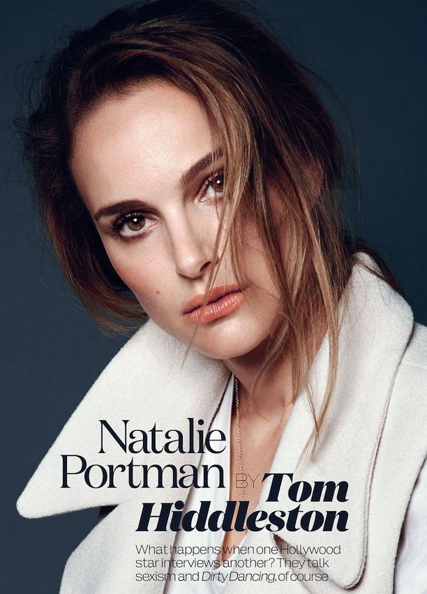 NATALIE PORTMAN ELLE UK NOVEMBER 2013 COVER SHOOT PINK PEACH LIPSTICK LIPS  NO FUSS HAIR WHITE JACKET WHITE TEE NECKLACE