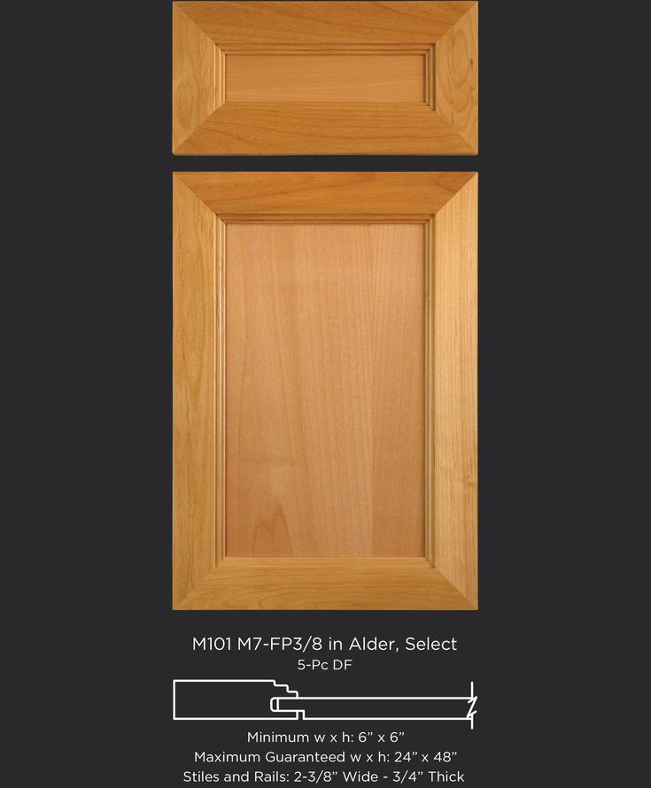 Alder cabinet door with modern transitional or southwestern frame detail by TaylorCraft Cabinet Door Company M101-M7-FP3/8 in Alder, Select taylorcraftdoor.com