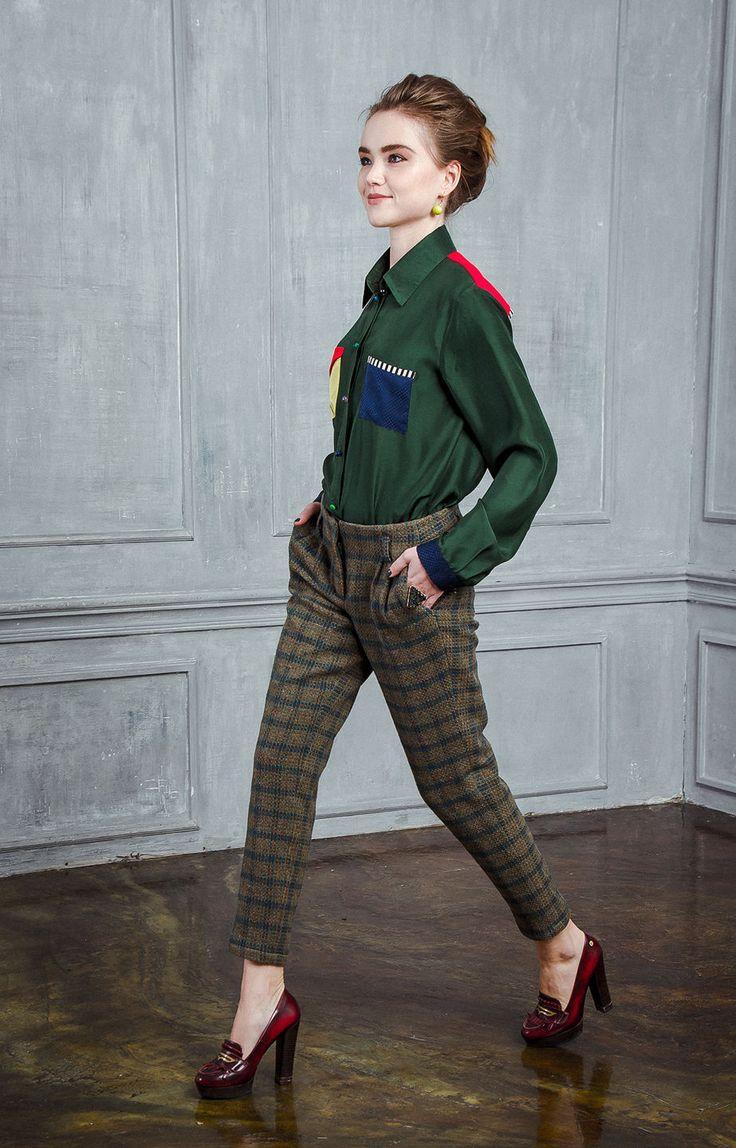Купить Шерстяные укороченные брюки в клетку - хаки, в клеточку, брюки женские, брюки, брюки с карманами