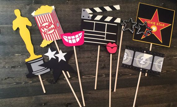 Props for your Oscar party/ movie themed party/ photo booth props Includes 1o props on wooden sticks  If you do not see what you are looking for