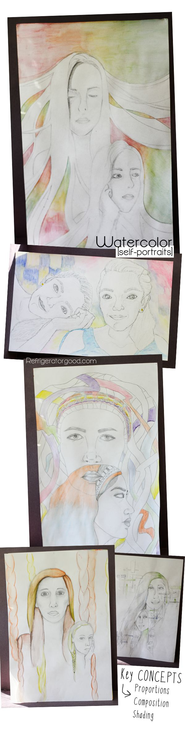High School Art lesson: Double watercolor Self portraits // Art II