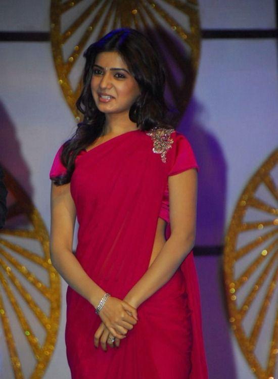 Spicy Samantha Photos In Maroon Saree