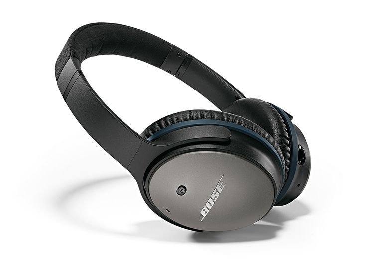 Bose's QuietComfort 25 over-ear headphones feature excellent noise cancellation and a sculpted, powerful audio performance.