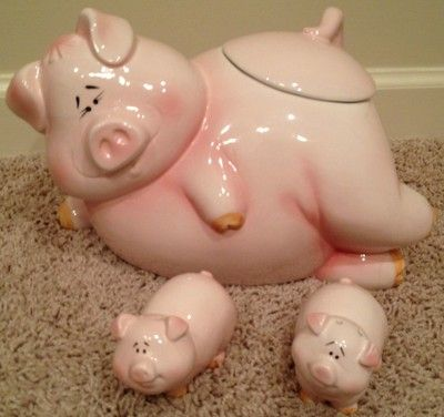 Porcelain Pig Cookie Jar with Salt and Pepper Shakers