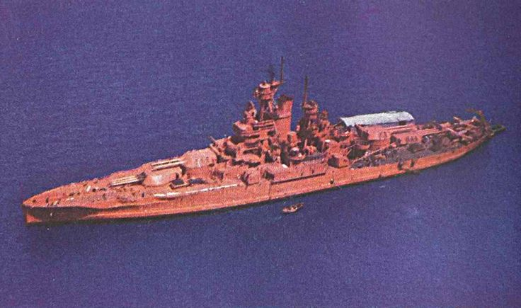 Battleship USS Nevada (BB-36) painted in orange as target ship for the Operation Crossroads Able Nuclear weapons test.
