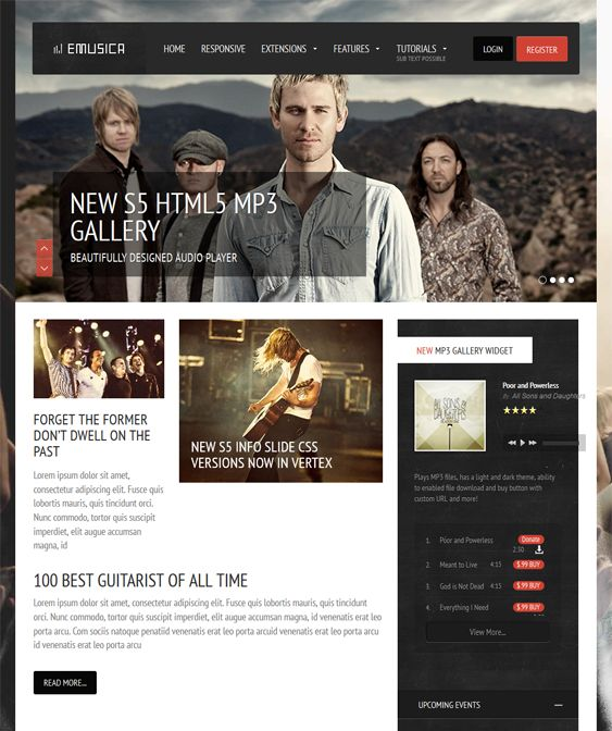 This music WordPress theme comes with a responsive layout, SEO optimization, Bootstrap integration, RTL language support, an MP3 HTML5 player, a dropdown panel, parallax backgrounds, lazy loading, and more.