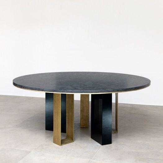 ROUND DINING TABLE | Stunning Black dining table by Galerie Van Der Straeten at Milan Design Week | See more at bocadolobo.com/ #moderndiningtables #luxurydiningtables