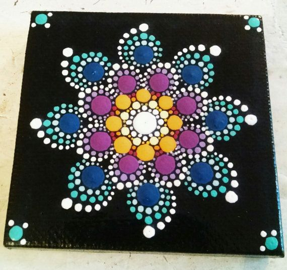 Colorful Dot Art Flower Mandala Original Hand by P4MirandaPitrone