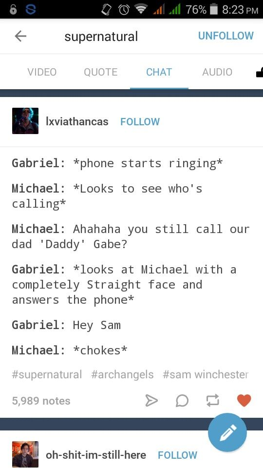 Sabriel - Sam & Gabriel - Supernatural tumblr chat post