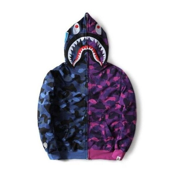 BAPE Cross Camo Blue Shark Hoodie ❤ liked on Polyvore featuring tops, hoodies, hooded sweatshirt, purple top, a bathing ape hoodie, blue hooded sweatshirt and hooded pullover