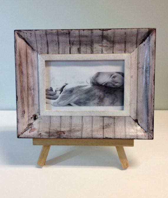 Decoupage photo frame with fence post look in grey tones, 6 x 4 photo frame, rustic/country/beach style frame, aged/ patterned picture frame