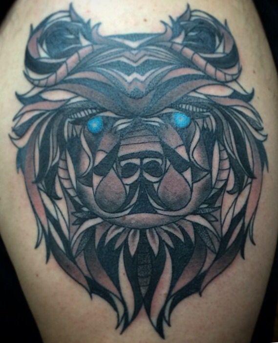 Geometric bear face tattoo | My ink | Tattoos, Bear ...