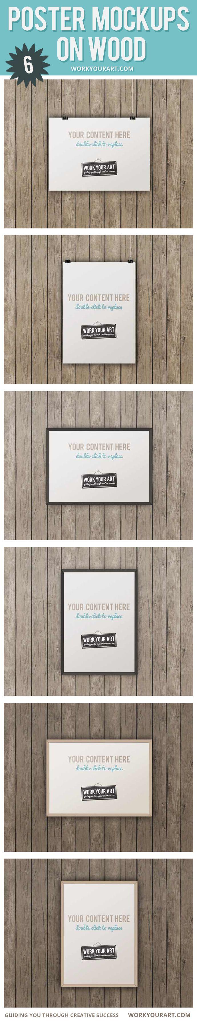 6 poster design photo mockups - 6 Poster Mockups On Wood Framed And Hanging With Clips Mockup Mockups