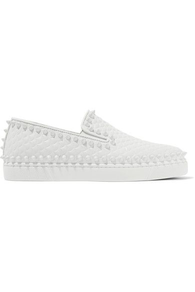 Christian Louboutin - Pik Boat Spiked Textured-leather Slip-on Sneakers - White - IT