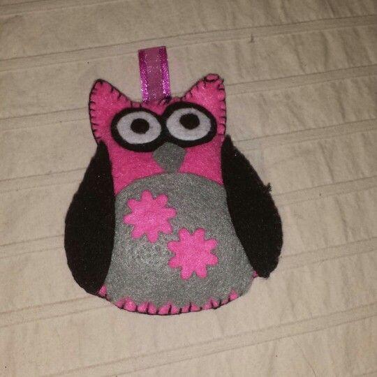 Owl pink black grey
