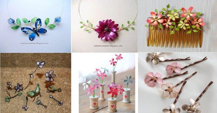 Jarní květinové ozdoby z drátků a laku na nehty (video)