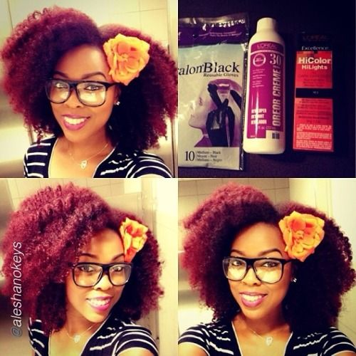 """@aleshanokeys """"For those who asked, I colored my hair with Loreal HiColor Highlights for Dark hair in Magenta and Red. I mixed about 2/3 magenta and 1/3 red to get this color. I've colored my hair with this product about 4 times and overall I haven't seen any significant damage or change in curl pattern."""