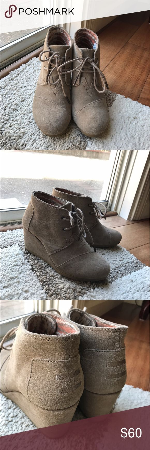 TOMS Taupe Suede Women's Desert Wedges ✨Comfy 70's style, taupe wedge boots  ✨Lightly worn 3x                                                                   ✨Final sale TOMS Shoes Ankle Boots & Booties