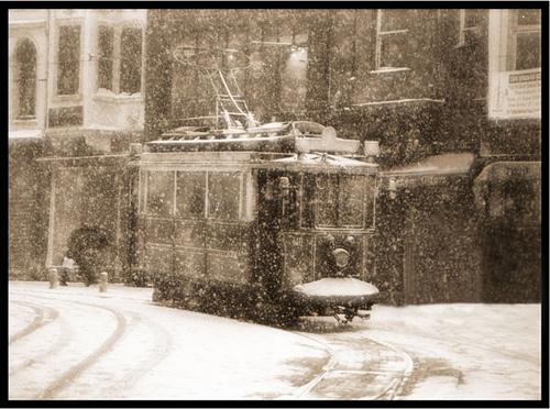 İstanbul Beyoğlu & Snow - Taken with my analog Nikon. My favorite shot.