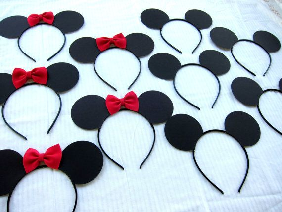 30 count  half Mickey ears and half Minnie mouse ear headbands LOT pink or red