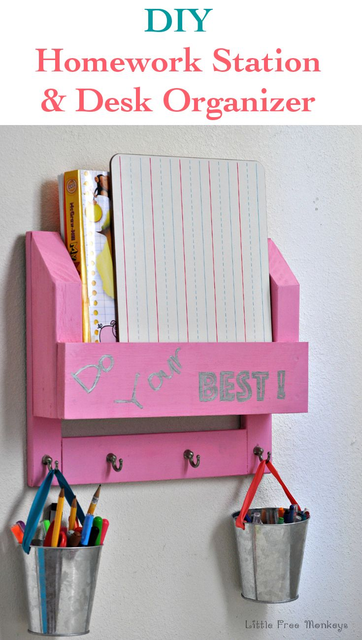 Diy desk organizer and homework station the o 39 jays for New home construction organizer