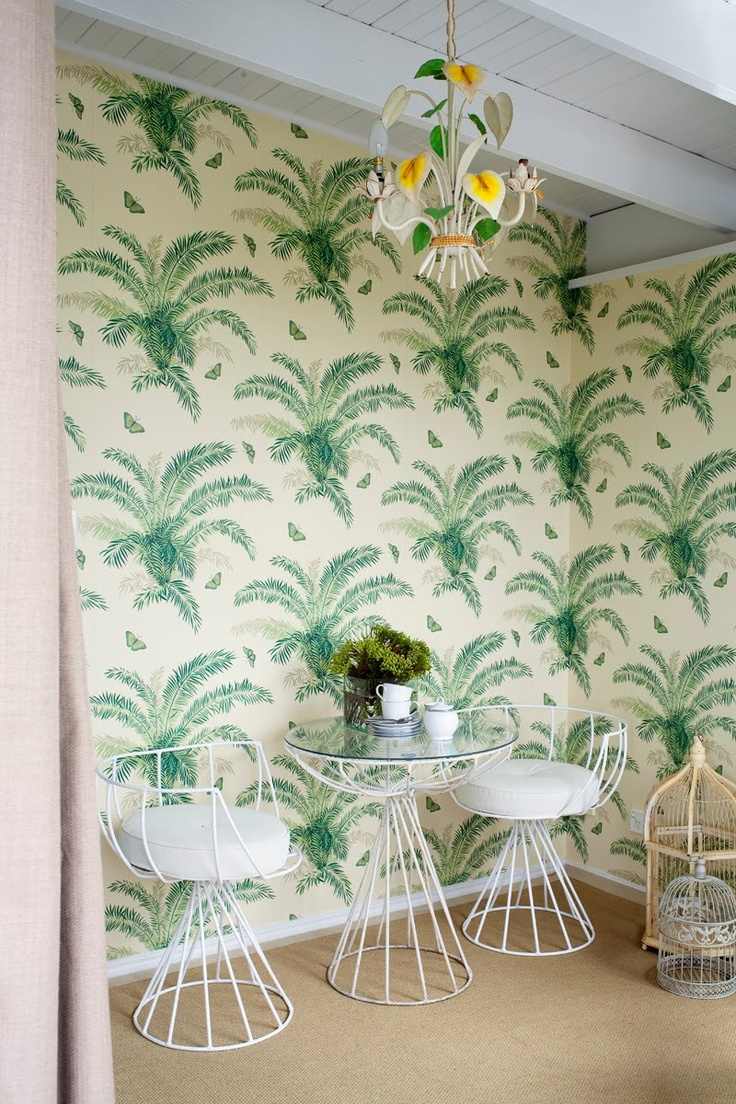 vintage inspired tropical wallpaper