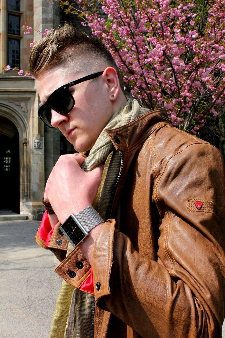 Hot for Spring/Summer our Trio brown leather sportswear jacket.   #Strellson #sportswear #Canada #menswear #streetstyle #fashion #style #gentlemen #men #clothing #SS15 #leather #model