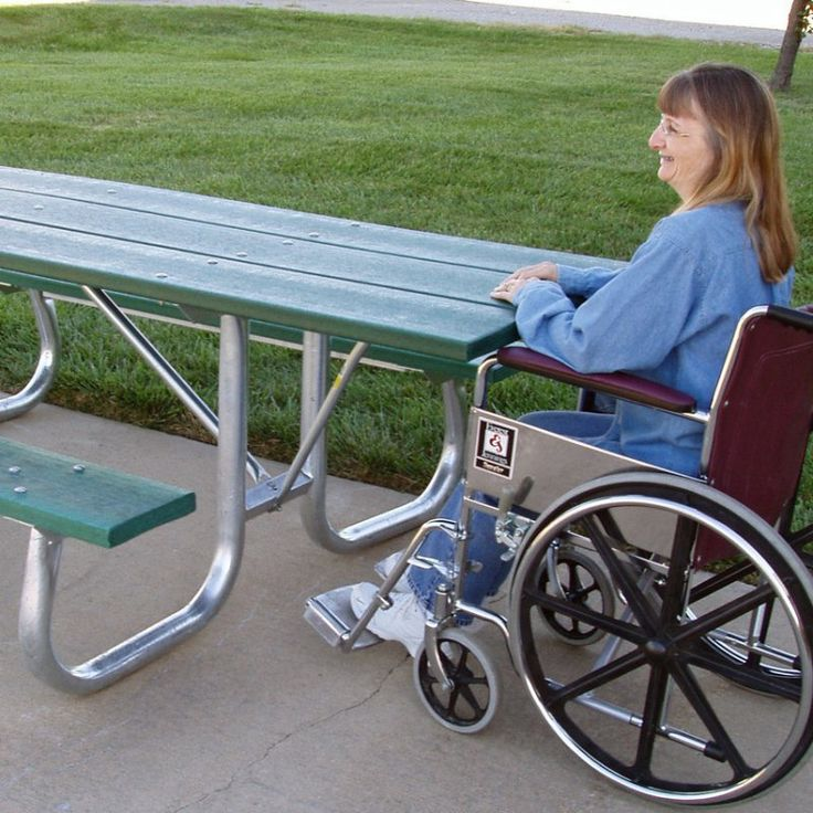 Outdoor Jayhawk Plastics Commercial 6 ft. Wheelchair-Accessible Galvanized Frame Recycled Plastic Picnic Table