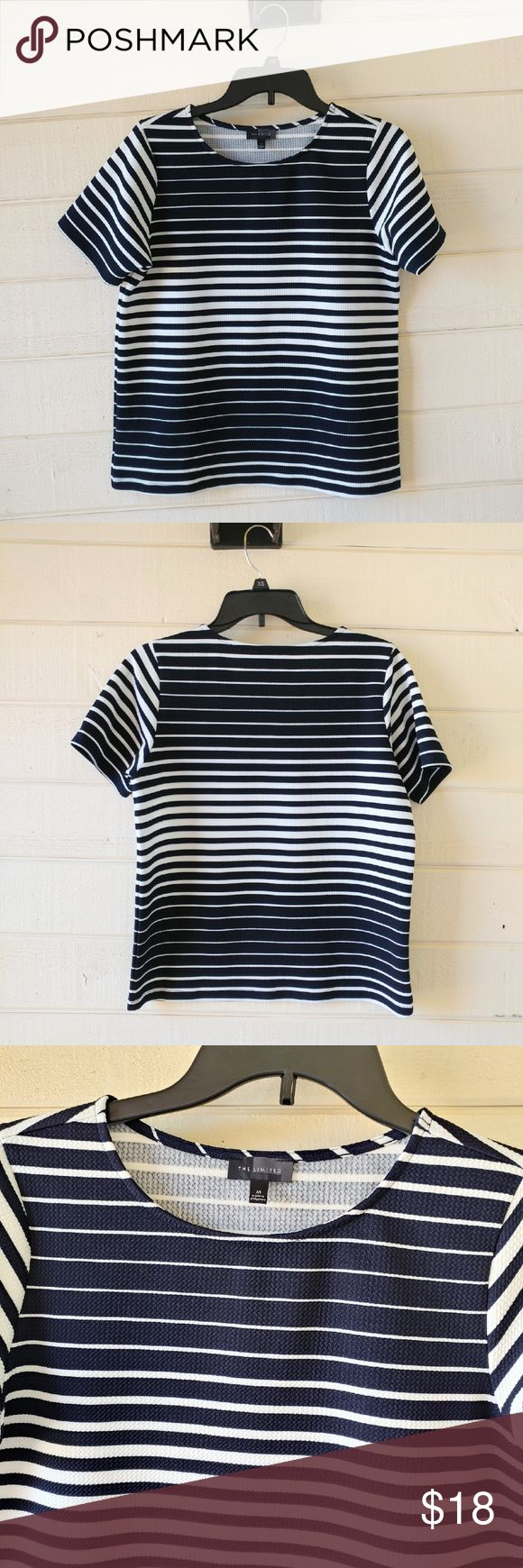 The Limited Striped Short Sleeves Top Size M Great item. This top looks like new! Different size stripes create an illusion of a great figure!  Size: M Color: Navy Blue and White Stripes Condition: Look like new Materials: 96% Polyster 4%Spandex  ?? Reasonable offers are accepted ?? Make a bundle and save more on shipping ?? Find me on Vinted with a lower price  ?? No trades The Limited Tops Tees - Short Sleeve