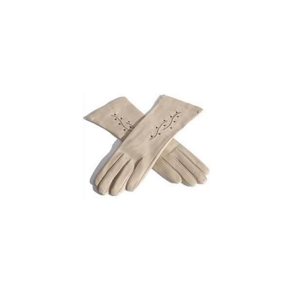 Sale - See All - Cream Leather Glove with Embroidery ❤ liked on Polyvore featuring accessories, gloves, rukavice, real leather gloves, cream gloves, cream leather gloves and leather gloves