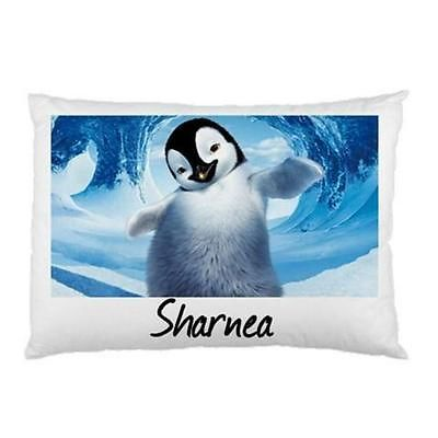 Happy Feet  Personalised Pillowcase Kids Children's Gift 'You Choose Name'