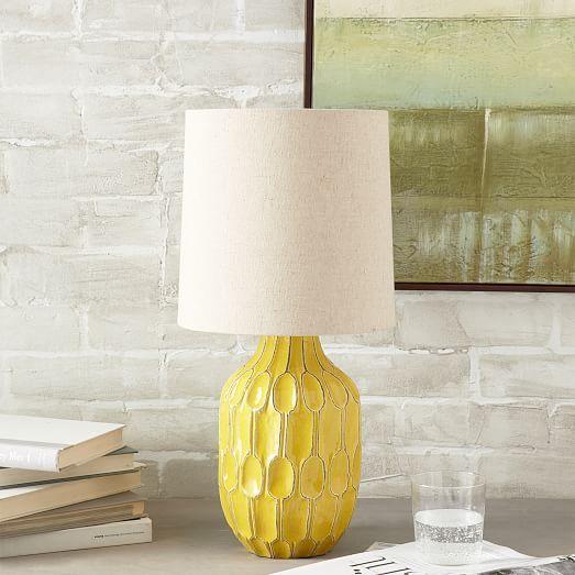 Linework Ceramic Table Lamp - Yellow