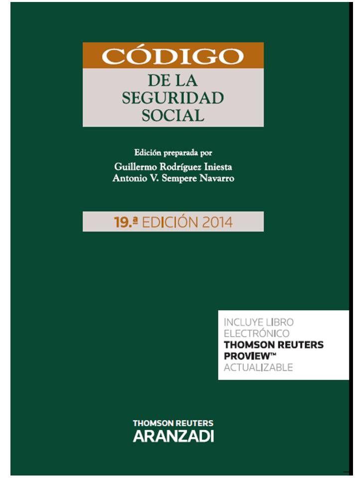 Código de la seguridad social / concordancias y notas a cargo de Guillermo Rodríguez Iniesta y Antonio-Vicente Sempere Navarro