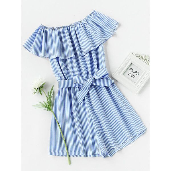 Frill Bardot Self Tie Striped Romper (10 PAB) ❤ liked on Polyvore featuring jumpsuits, rompers, romper, playsuit, blue, blue rompers, blue romper, off shoulder romper, ruffle romper and short sleeve romper