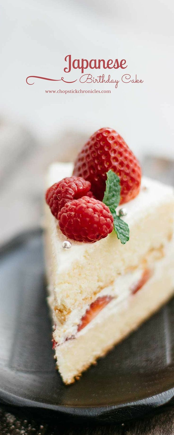 Japanese Birthday Cake by chopstickchronicles #Cake #Strawberries