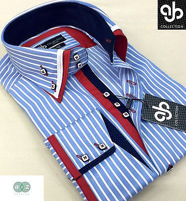 New Mens Formal Smart Light Blue, White Double Collar Italian Slim Fit Shirt