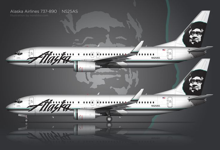 Detailed side view rendering of an Alaska Airlines 737-890