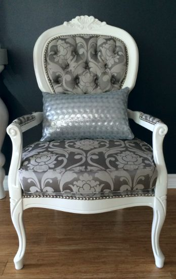 Silver damask Queen Anne chair with nailheads 42 best Queen Anne Style images on Pinterest   Queen anne  . Antique Queen Anne Upholstered Chairs. Home Design Ideas