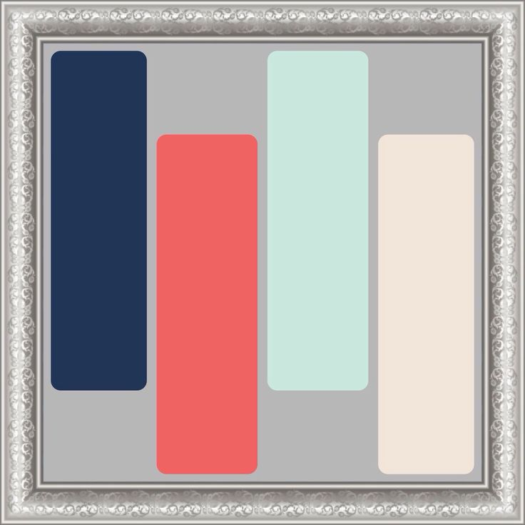 Mint, Coral and Navy paint scheme against the grey.
