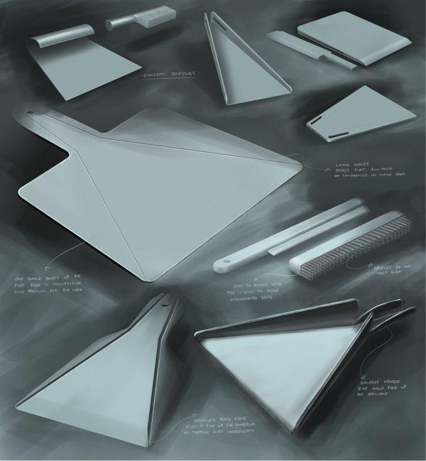 Fold flat dustpan and brush by Joe Richardson, via Behance