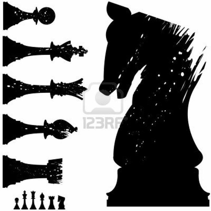 Vector silhouette de pièces d'échecs en style grunge Banque d'images - 4695205