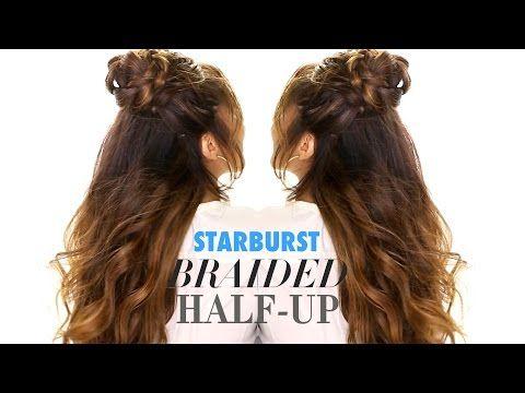 Starburst Braid Bun | Half Updo Hairstyles for Long Medium Hair Tutorial d - YouTube