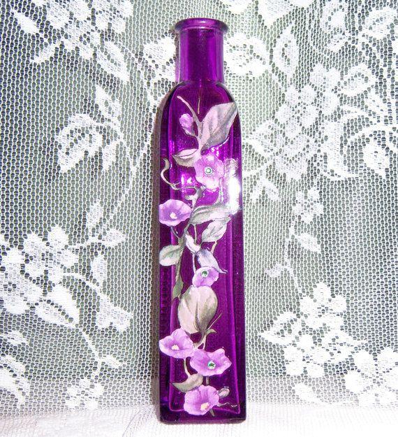 Purple glass bud vase - purple floral with green swarovski crystals <--Luv it!