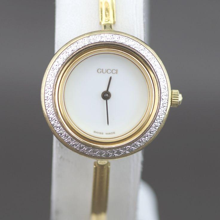 【中古】GUCCI(グッチ) 11/12.2 チェンジ べゼル クオーツ GP レディース ホワイト文字盤時計/新品同様・極美品・美品の中古ブランド時計を格安で提供いたします。